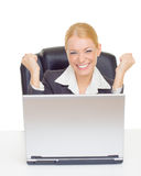 affärskvinna som uttrycker framgång Royaltyfri Foto