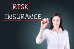 Affärskvinna som väljer försäkring i stället för risk background card congratulation invitation Fotografering för Bildbyråer