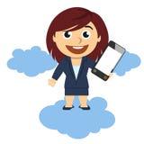 Affärskvinna som visar en mobiltelefon Arkivfoton