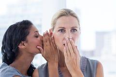Affärskvinna som viskar skvaller till hennes kollega arkivfoton