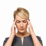 Affärskvinna Suffering From Headache Royaltyfri Fotografi