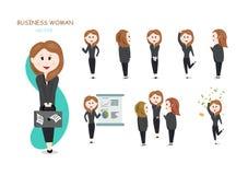 Affärskvinna, vektor, nätt collectio för flickatecknad filmtecken stock illustrationer