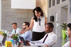Affärskvinna Working With Colleagues på styrelsetabellen royaltyfri fotografi