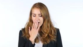 Affärskvinna Yawning, tröttat och att sova, vit bakgrund arkivbild