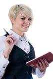 affärskvinnaanteckningsbok Fotografering för Bildbyråer