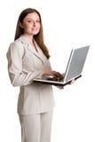 affärskvinnabärbar dator Royaltyfri Fotografi