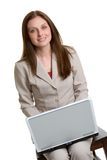 affärskvinnabärbar dator Arkivfoton