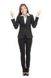 affärskvinnacrossingfingrar Royaltyfri Bild