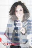 affärskvinnadiagramuppvisning Arkivfoto