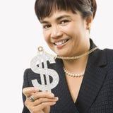 affärskvinnadollartecken Royaltyfri Foto