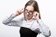 affärskvinnaexponeringsglas Arkivfoton