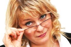 affärskvinnaexponeringsglas Arkivfoto