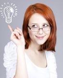 affärskvinnaexponeringsglasredhead fotografering för bildbyråer