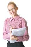 affärskvinnaförlagor royaltyfri foto