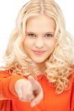 affärskvinnafinger henne som pekar Royaltyfria Foton