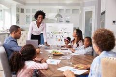 Affärskvinnagåvamöte till en familj i deras kök royaltyfria foton