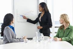AffärskvinnaGiving Presentation To kollegor arkivbild