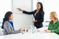 AffärskvinnaGiving Presentation To kollegor royaltyfri bild