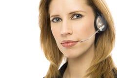 affärskvinnahörlurar med mikrofon Royaltyfria Bilder