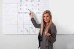 Affärskvinnahandstil på flipchart, medan ge presentation till kollegor i regeringsställning royaltyfria bilder
