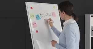 Affärskvinnahandstil på whiteboard på kontoret lager videofilmer