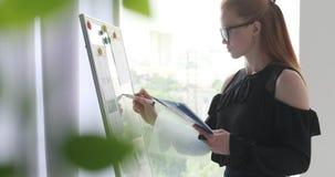 Affärskvinnahandstilanmärkningar på kontorswhiteboard arkivfilmer