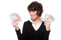 affärskvinnaholdingpengar Royaltyfri Bild