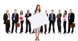 affärskvinnaholdingstanding Arkivbilder