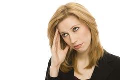 affärskvinnahuvudvärk royaltyfri foto