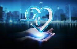 Affärskvinnainnehav och rörande medicinsk tolkning för symbol 3D Royaltyfria Bilder