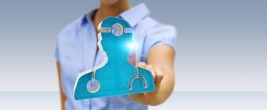 Affärskvinnainnehav och rörande medicinsk tolkning för symbol 3D Fotografering för Bildbyråer