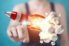 Affärskvinnainnehav och rörande röd tolkning för raket 3D Arkivfoton
