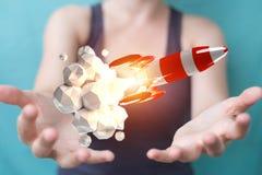 Affärskvinnainnehav och rörande röd tolkning för raket 3D Royaltyfri Foto