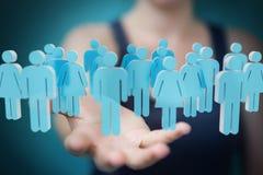 Affärskvinnainnehav och trycka på gruppen för tolkning 3D av blå pe Arkivbilder
