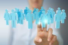 Affärskvinnainnehav och trycka på gruppen för tolkning 3D av blå pe Arkivfoton