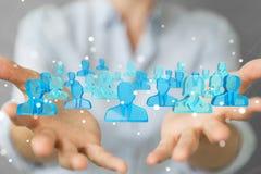 Affärskvinnainnehav och trycka på gruppen för tolkning 3D av blå pe Arkivbild