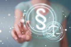 Affärskvinnainnehav och trycka på lagsymbol för tolkning 3D Royaltyfri Bild