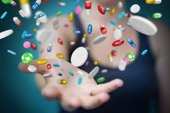 Affärskvinnainnehav och trycka på sväva beträffande medicinpreventivpillerar 3D Royaltyfri Foto