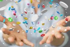 Affärskvinnainnehav och trycka på sväva beträffande medicinpreventivpillerar 3D Arkivfoto