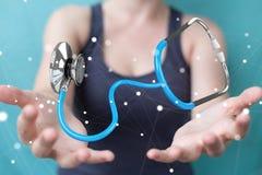 Affärskvinnainnehav och trycka på sväva rende för stetoskop 3D Royaltyfri Bild