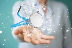 Affärskvinnainnehav och trycka på sväva rende för stetoskop 3D Arkivbilder