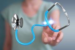 Affärskvinnainnehav och trycka på sväva rende för stetoskop 3D Royaltyfria Bilder