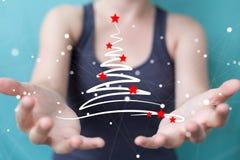 Affärskvinnainnehavet och rörande julträd skissar Arkivbild