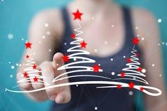 Affärskvinnainnehavet och rörande julträd skissar Arkivfoto