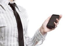 Affärskvinnainnehavtelefon Arkivbilder