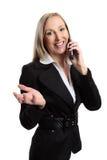 affärskvinnakonversationtelefon royaltyfria bilder