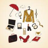 Affärskvinnalivsstil stock illustrationer