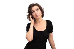 affärskvinnamobil över att tala för telefon Royaltyfria Foton