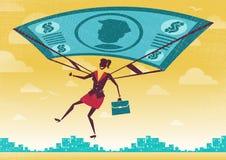 Affärskvinnan använder hennes finansiella dollar Bill Parachute Arkivfoton
