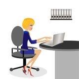 Affärskvinnan arbetar i ett kontor stock illustrationer